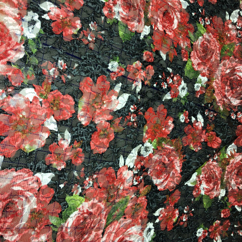 Sheer Poly Print Red/Blk Floral