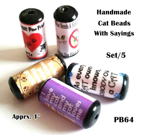 PB64 - Cute Cat Saying Beads