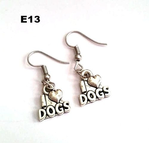 E13 - I Love Dogs Earrings
