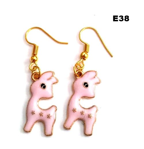 E38 - Pink Deer Earrings