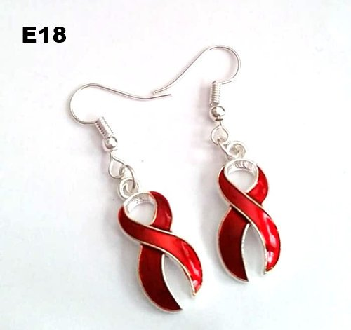 E18 - Red Ribbon Earrings