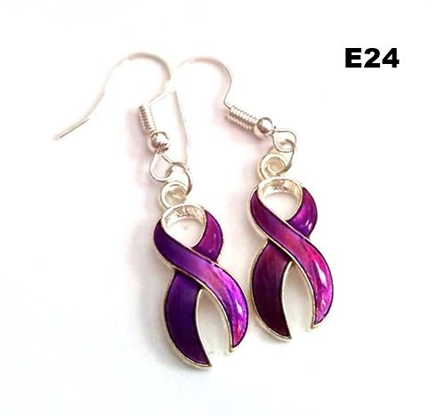 E24 - Purple Ribbon Earrings
