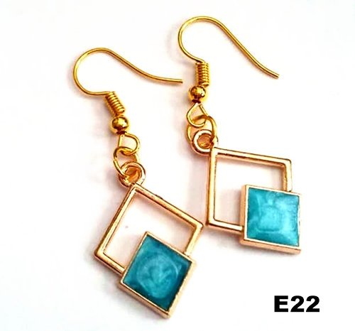 E22 - Blue Abstract Earrings