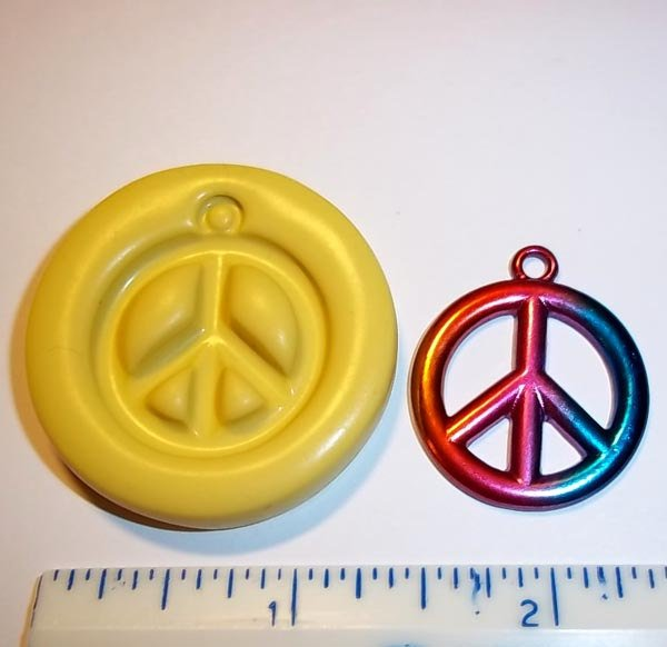 Peace Sign Flexible Mold Mould For Resin Paper Clay Sculpey Fimo Polymer Premo Wax Chocolate Fondant  (M339)