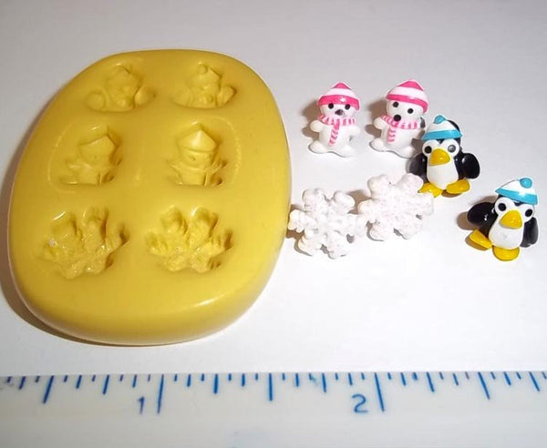 Penquin Snow Flexible Mold Christmas Mould For Resin Paper Clay Sculpey Fimo Polymer Premo Wax Chocolate  H209