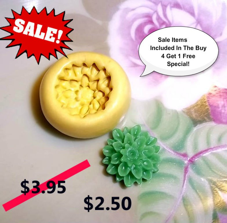ON SALE - FLOWER- Flexible Push Mold -  Food Safe Silicone  I113
