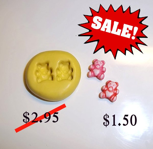 ON SALE - Teddy Bears - Set/2 -  Bear Flexible Push Mold -  Food Safe Silicone  I152