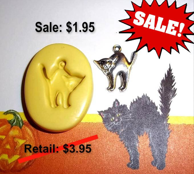 ON SALE - Cat Charm -  Flexible Push Mold -  Food Safe Silicone  I194