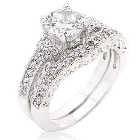ring christys vintage inspired art deco round cz wedding ring - Vintage Inspired Wedding Rings