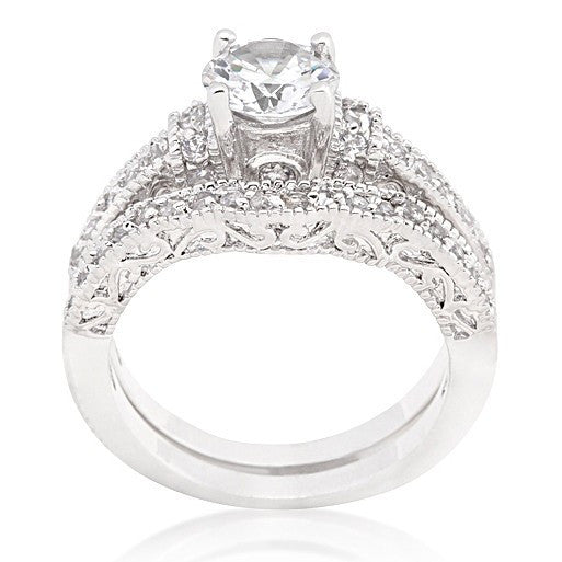 ring christys vintage inspired art deco round cz wedding ring set - Vintage Inspired Wedding Rings