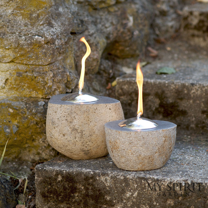 Natural River Stone Oil Lamp