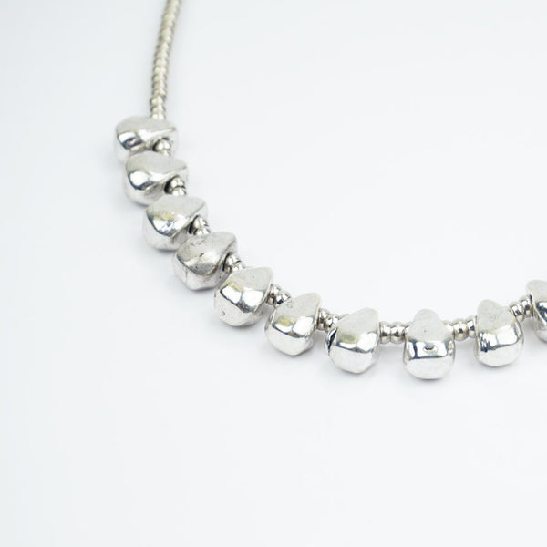 raindrop silver beaded necklace