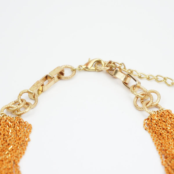 metal chain necklace gold orange