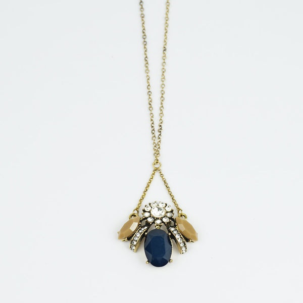Bee stone glass navy necklace