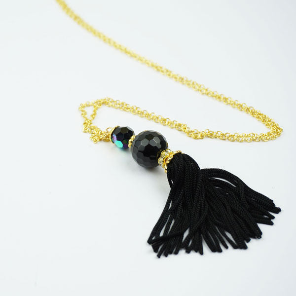 Glass bead necklace with gold chain