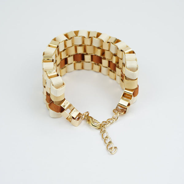 Ribbon weave brown and cream bracelet