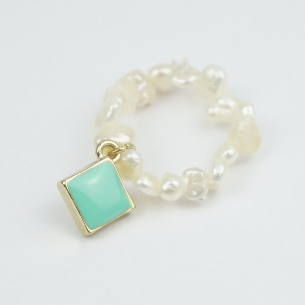 Fresh water pearl and turquoise square stretch ring