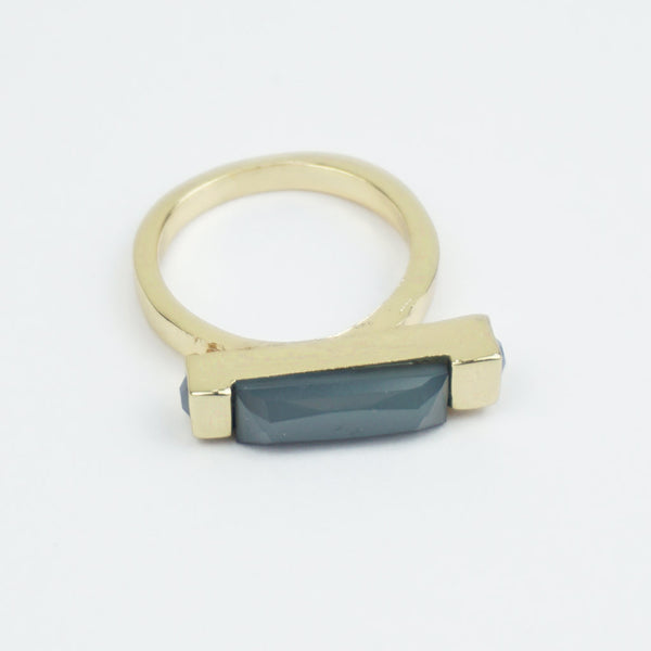 Grey and gold bar ring
