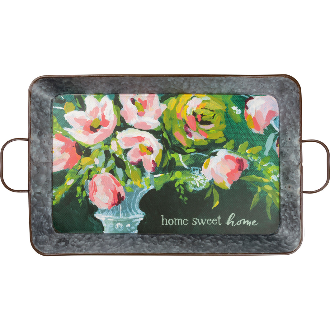 Home Sweet Home Floral Metal Tray