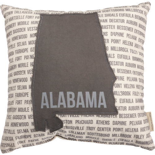 Alabama Pillow- Grey and White