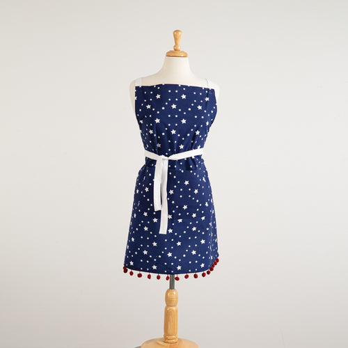 Stars Apron with pompoms