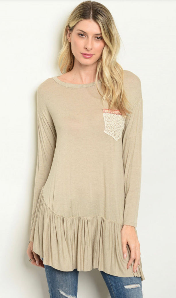 Taupe A-symmetrical Top with decorative pocket