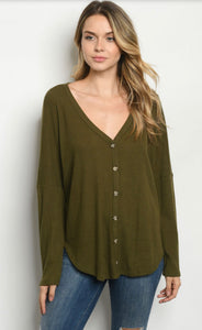 Olive Green Button Down Top