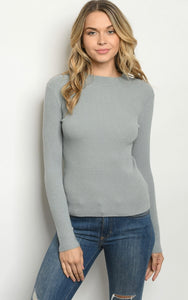 Ribbed Long Sleeve Top- 2 colors