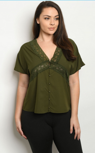 Olive Short sleeve plus size top
