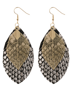 White Layered Fringe Leather Earrings