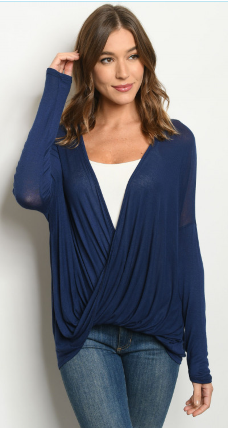 Navy open front top/cardigan