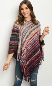 Olive Multi Poncho Sweater