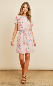 Cinch Waist Floral Dress with Pockets