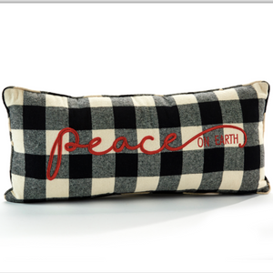 Peace Pillow w/ plaid design