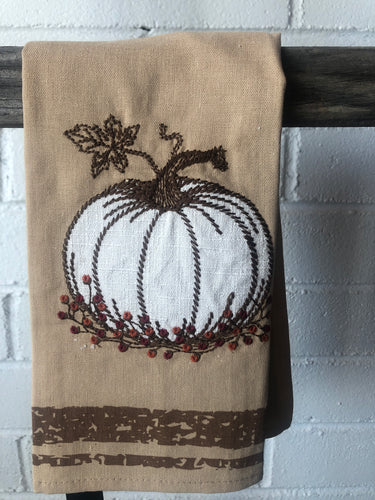 Tan Towel w/ Embroidered Pumpkins