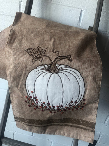 72 in Tan Table Runner w/ Embroidered Pumpkin