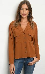 Camel button down top **sm-3x available