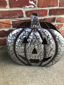 Galvanized pumpkin pail with cutout