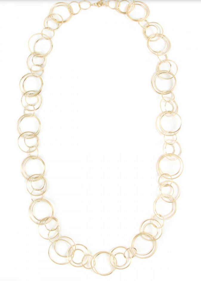 Gold multiple linked hoop necklace