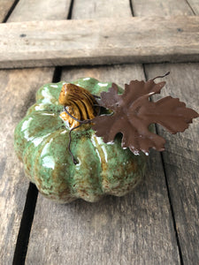 5 in Glazed ceramic pumpkin decor