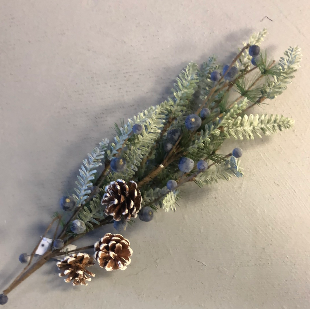 28 inch frosted fir pine spray with pinecones and berries