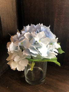 blue real touch hydrangea in vase