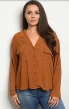 Load image into Gallery viewer, Camel button down top **sm-3x available