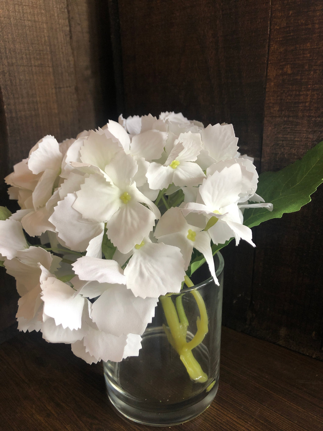 white real touch hydrangea in vase