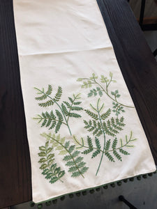 72 in cream table runner with embroidered ferns