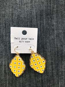 Yellow pattern earrings