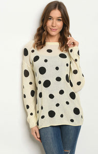 cream black with dots sweater