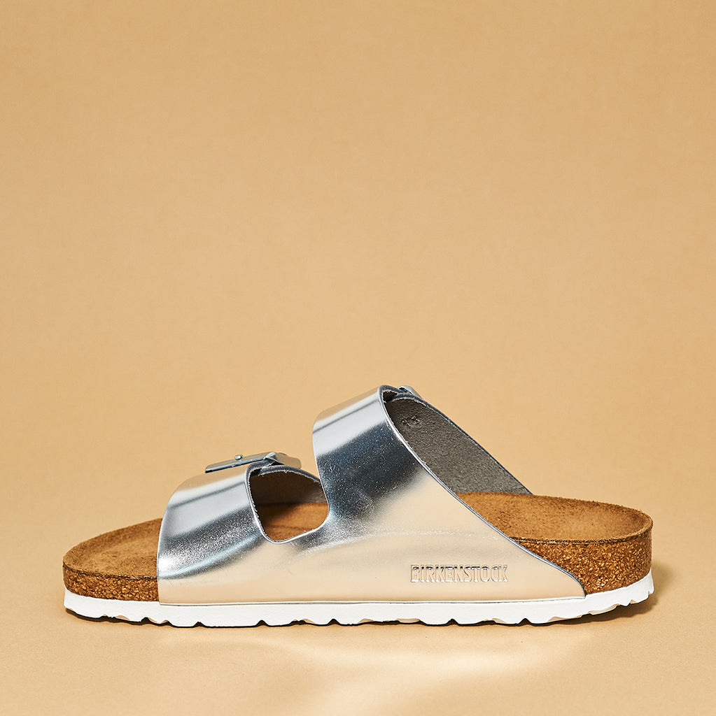 Birkenstock Arizona Soft Foot bed Silver Leather