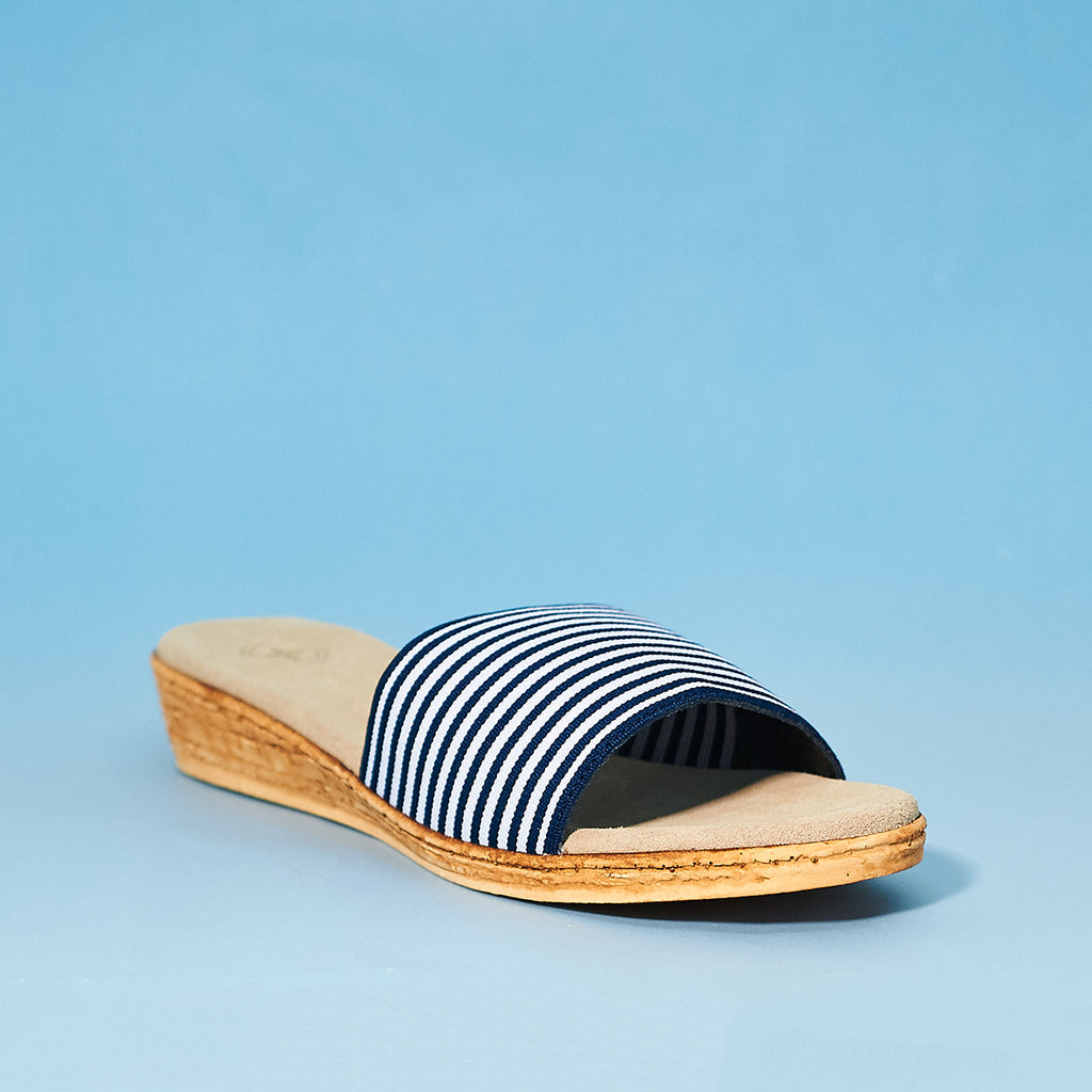 Charleston Shoe Company Seabrook in navy stripe - Shoe Market NYC