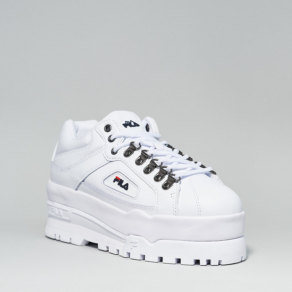 Fila Trailblazer wedge in white - Shoe Market NYC